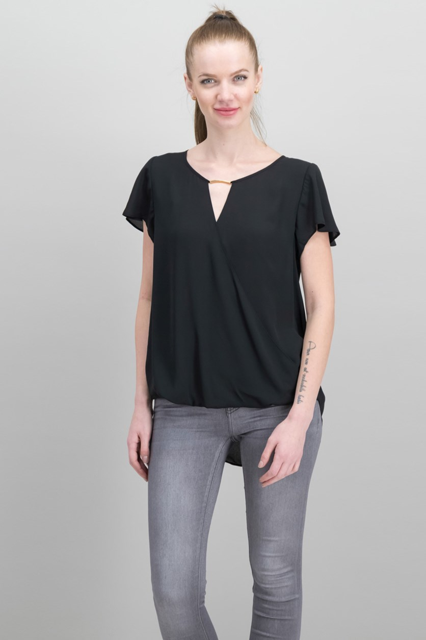 Inc International Concepts High-Low Hardware-Detail Top, Deep Black