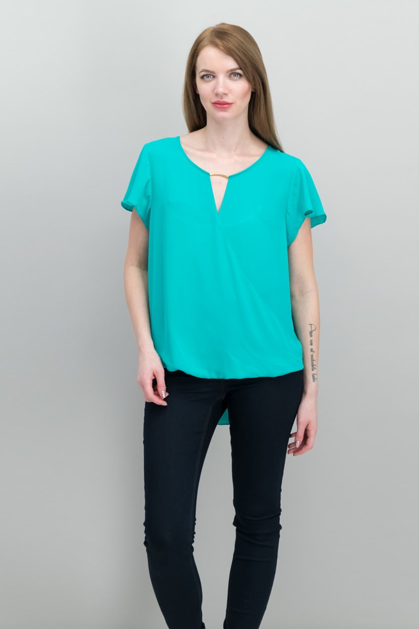 International Concepts High-Low Hardware-Detail Top, Teal Glow