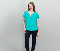 INC International Concepts High-Low Hardware-Detail Top, Teal Glow