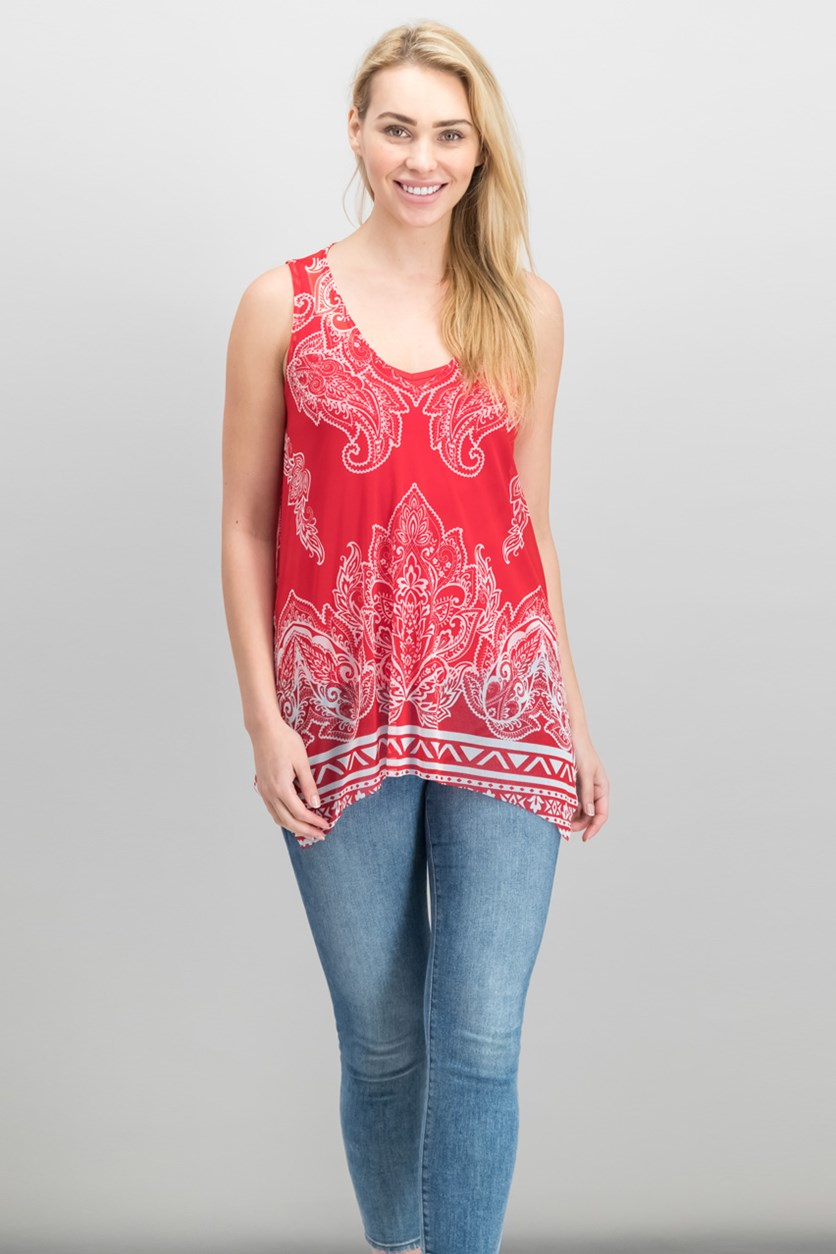 International Concepts Printed Handkerchief-Hem Top, Red