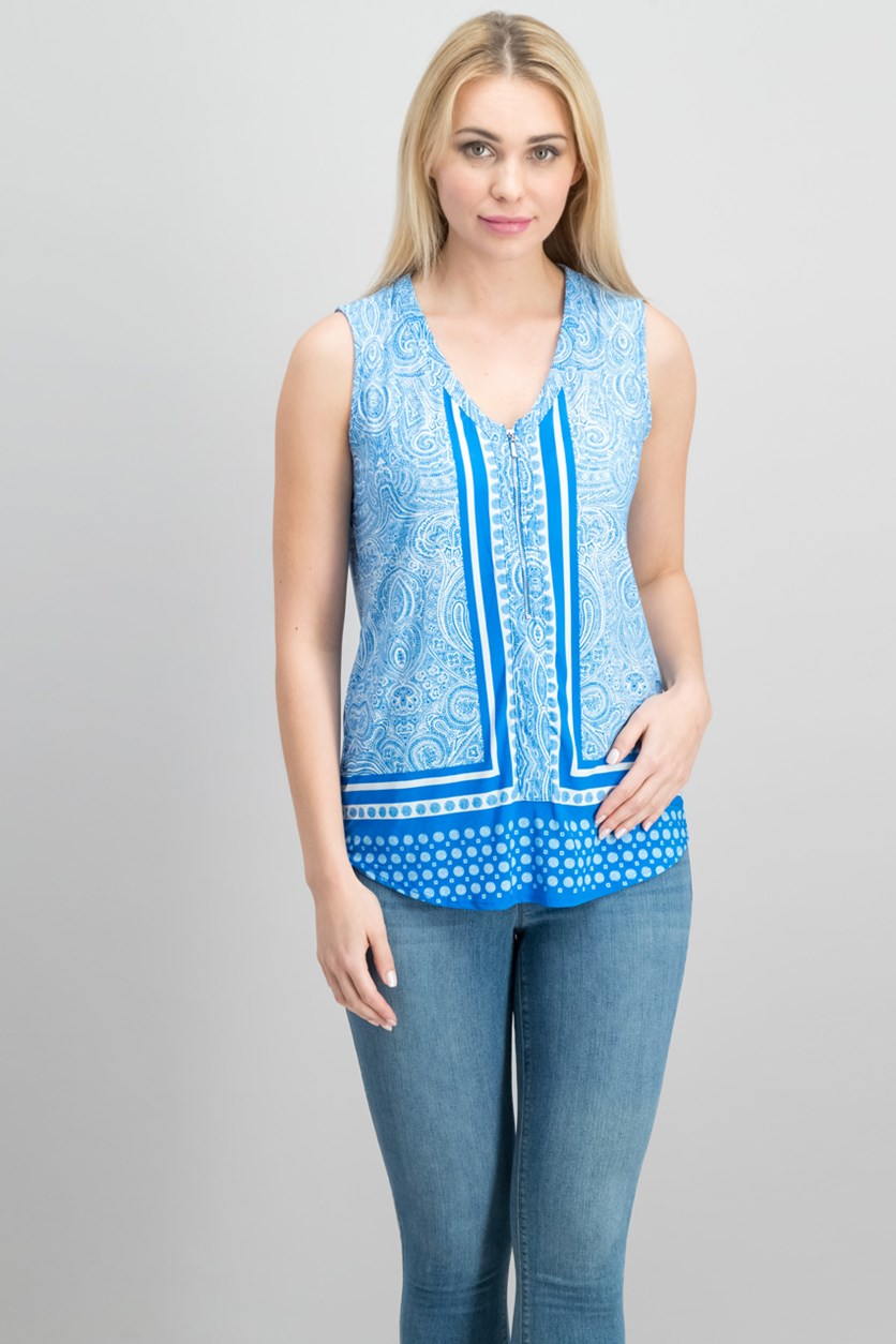 International Concepts Printed Zip-Neck Tank Top, Carrara Blue