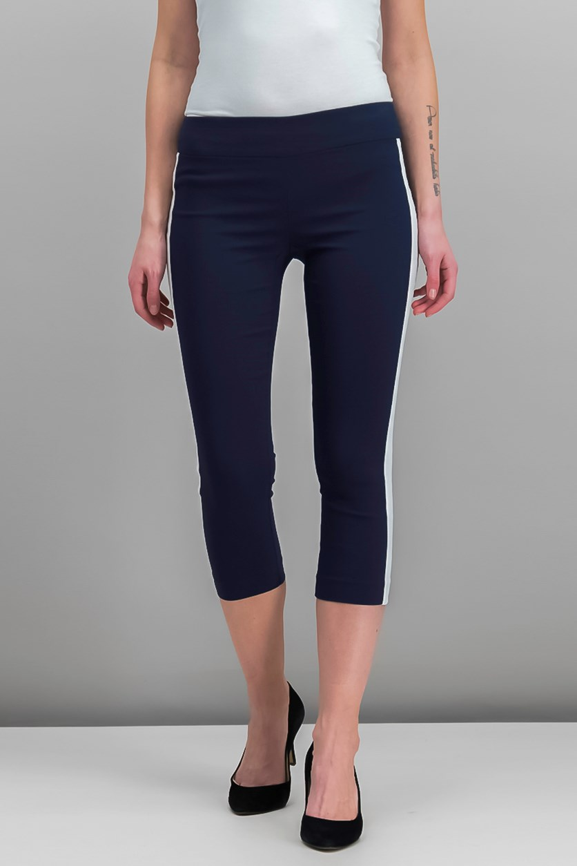 Petite Cropped Striped-Leg Pants, Deep Twilight