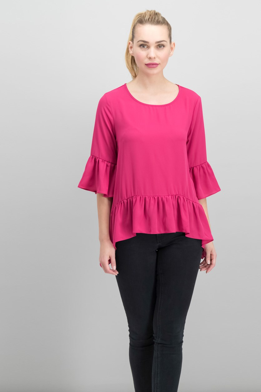Women's Ruffled Bell-Sleeve Top, Pink