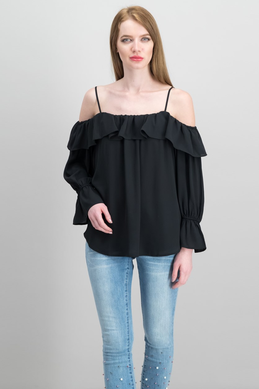 Ruffled Cold-Shoulder Top, Black