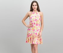 Betsey Johnson Floral-Print Mock-Neck Dress, Pink Combo
