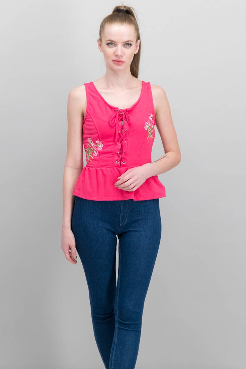 Juniors' Lace-Up Peplum Top, Raspberry