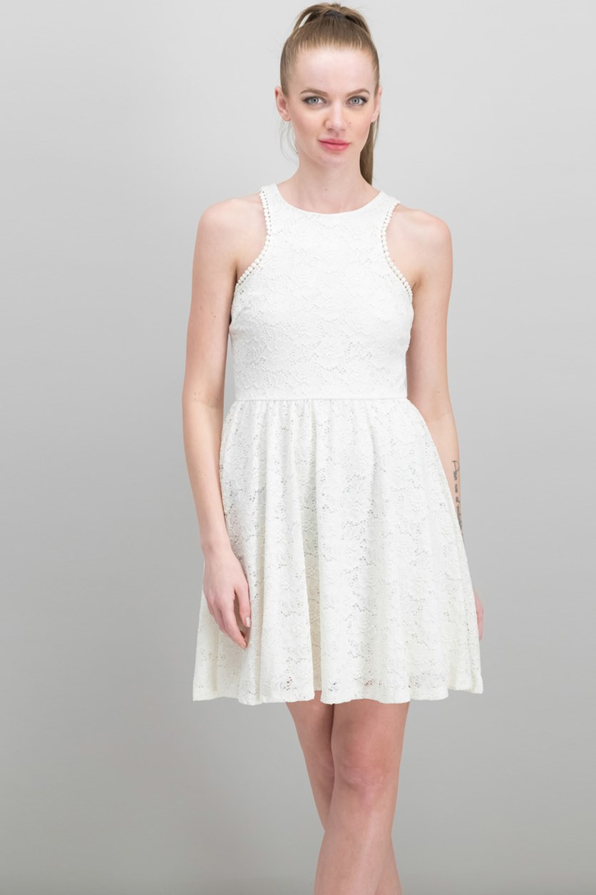 Juniors' Lace Fit & Flare Dress, White