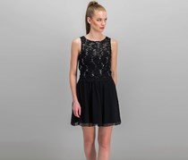 Speechless Juniors' Sequined Lace Dress, Black/Silver