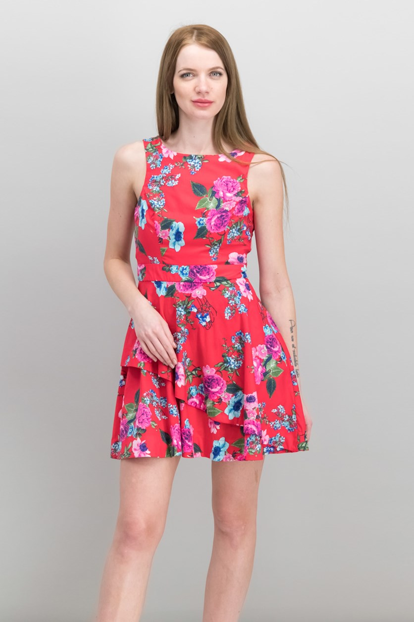 Juniors Printed Asymmetrical Tiered Fit & Flare Dress, Red Floral