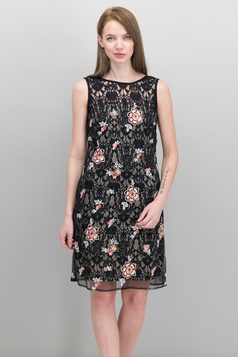 Taylor Women Floral-Embroidered Lace Dress, Black Combo