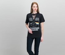 Pink Floyd Juniors Lace-Up T-Shirt, Black