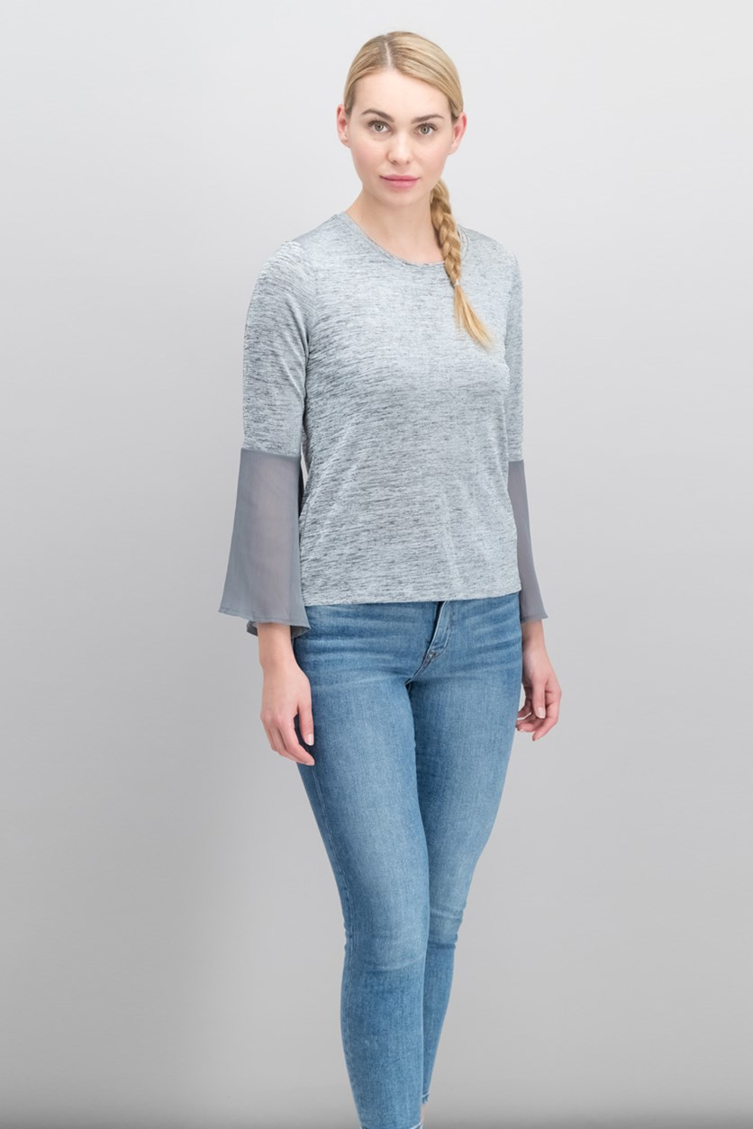 Bell-Sleeve Top, Heather Grey