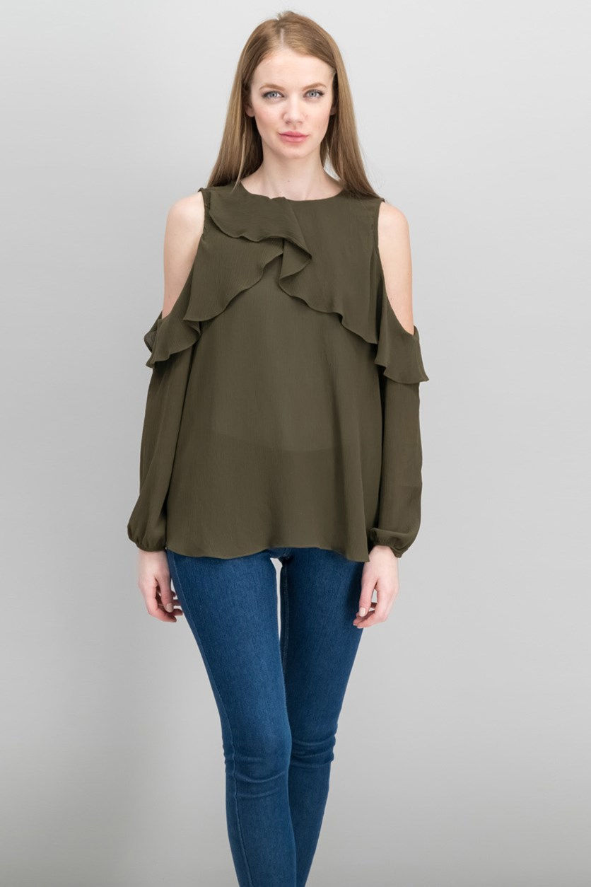 Ruffle Cold Shoulder Top, Dark Olive