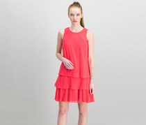 American Living Tiered Georgette Dress, Coral Crush