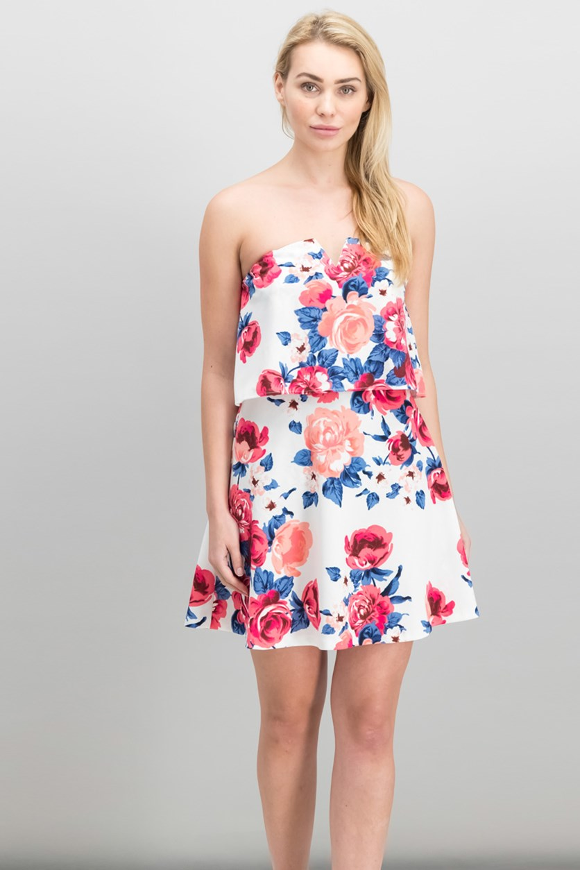 Floral Print Strapless Dress, White Combo