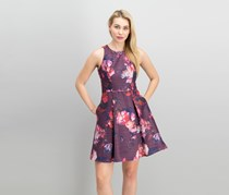 Adrianna Papell Embellished Fit Flare Dress, Purple Combo