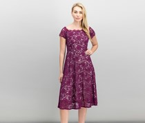 Adrianna Papell Off-The-Shoulder Lace Midi Dress, Magenta