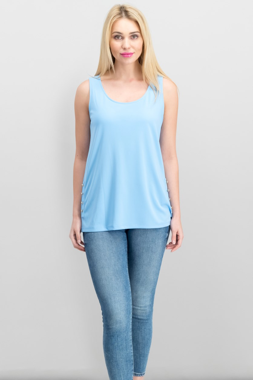 Embellished Top, Light Blue
