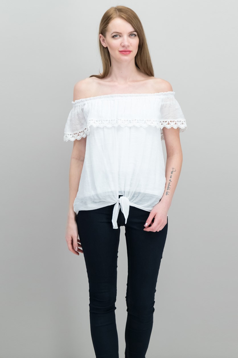 Off-The-Shoulder Tie-Hem Top, Bright White