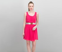 Bcx Juniors' Belted Chiffon Dress, Bright Pink