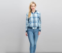 Sanctuary Women's Faded Plaid Bomber Sweater, Sunkissed Wash