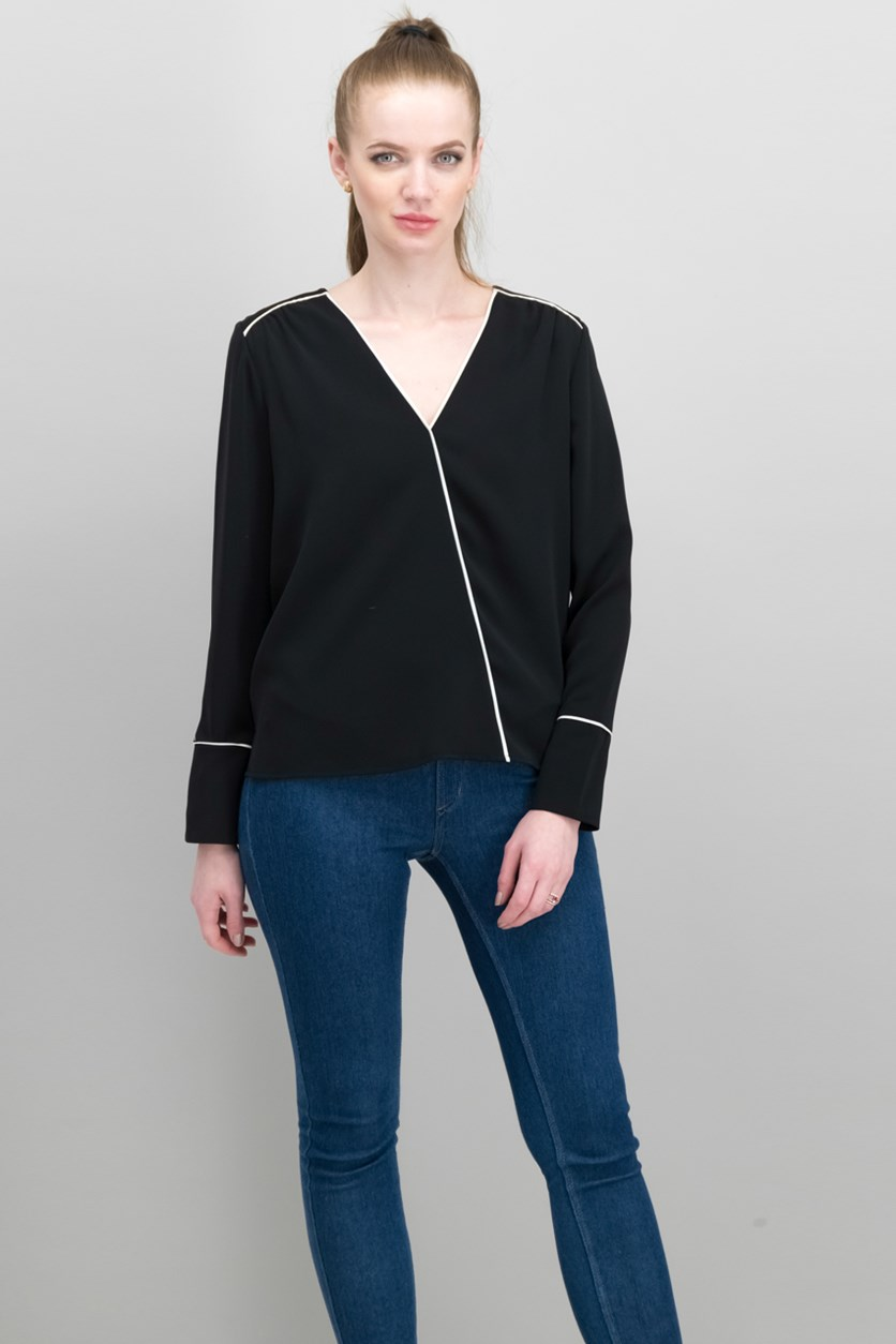 Mariana Piped Faux-Wrap Top, Black