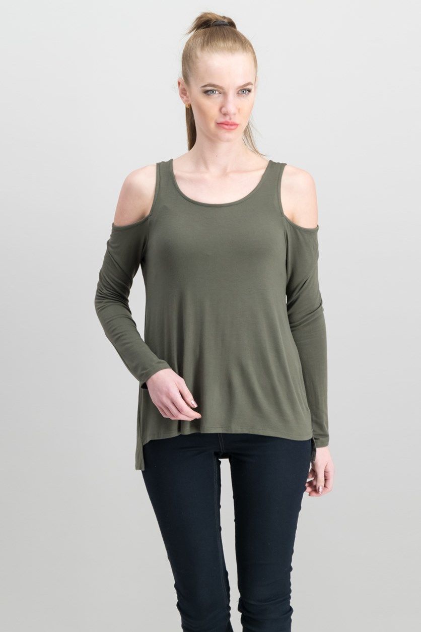 Juniors' Cold-Shoulder Cozy T-Shirt, Olive