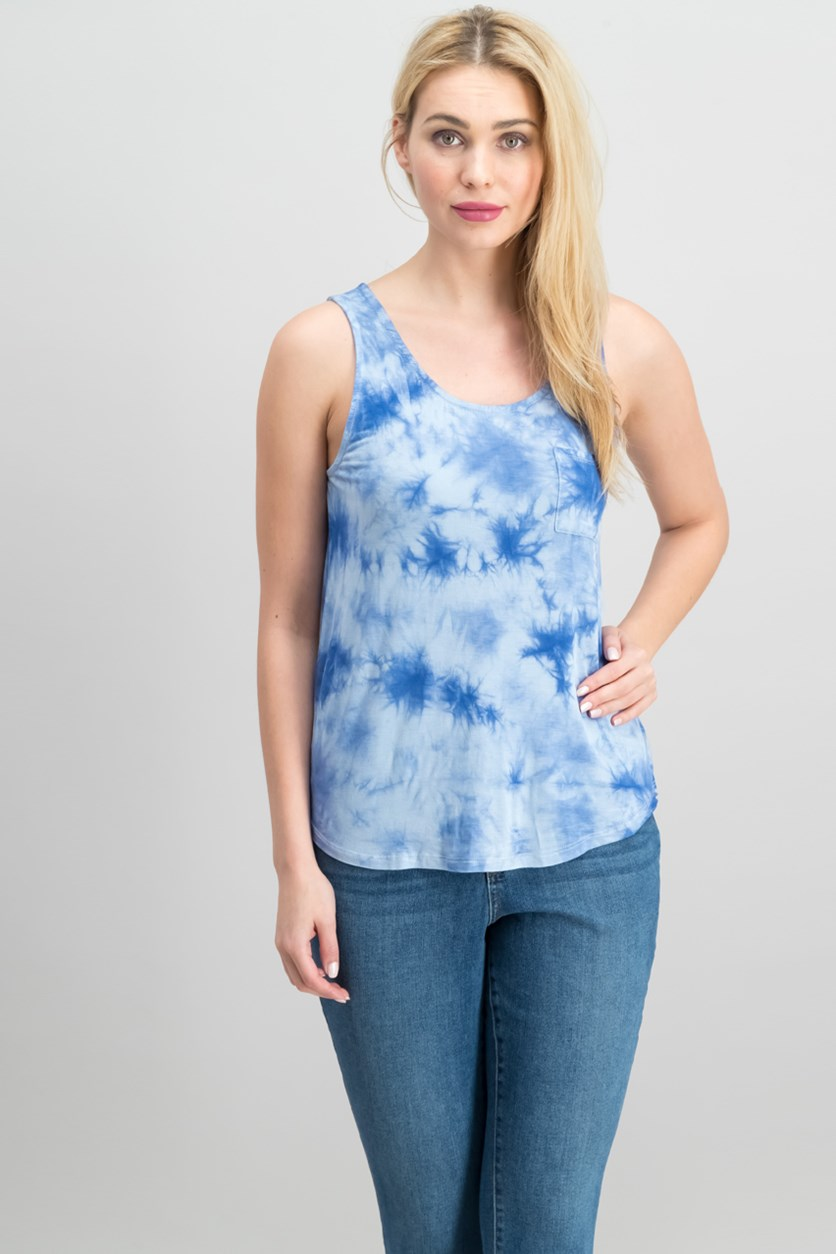Juniors' Tie-Dye Tank Top, Chateau Blue