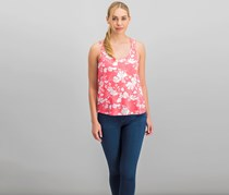 Hippie Rose Juniors' Strappy-Back Tank Top, Coral Floral
