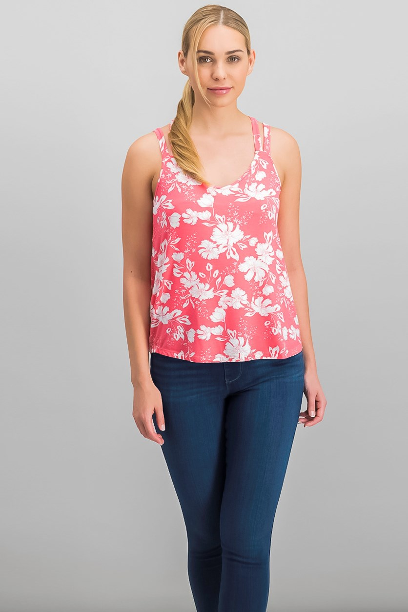 Juniors' Strappy-Back Tank Top, Coral Floral