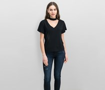 LNA Women's V Neck Choker Casual T-Shirt, Black