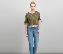 Women Striped Crop Top, Olive