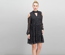 Lysse Floral Lace Cold Shoulder Dress, Black