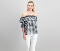 Coverstitched Women's Checkered Off Shoulder Top, Black/White