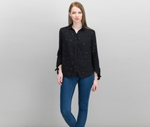 Rails Robyn Embroidered Tie-Cuff Shirt, Black
