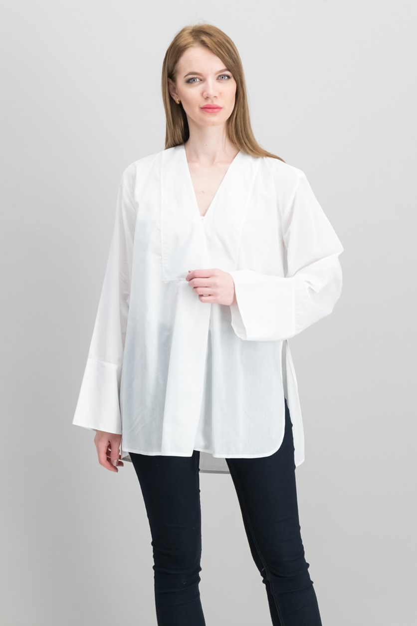Women's Sheer V-Neck Blouse, White