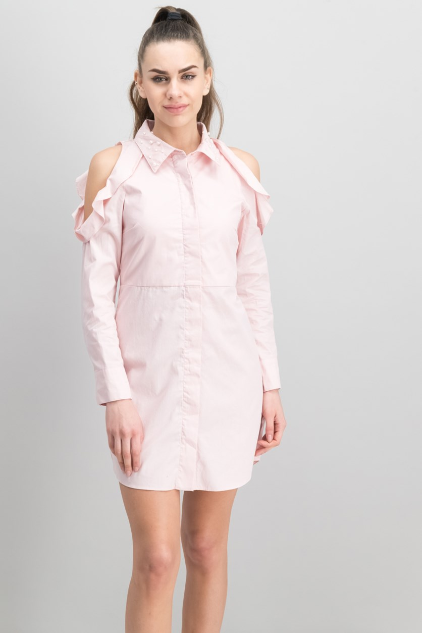 Juniors' Cotton Cold  Shoulder Shirtdress, Pink