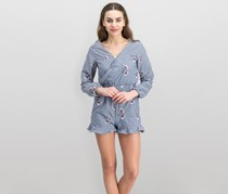 Juniors Embroidered Gingham Romper, Navy Combo