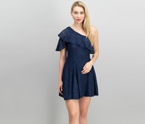 The Edit By Seventeen Juniors Lace One-Shoulder Dress, Navy