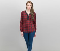 Women Juniors Lace-Up Plaid Top, Red/Black