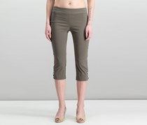JM Collection Women's Petite Embellished Lattice Capri Pants, Brown Clay