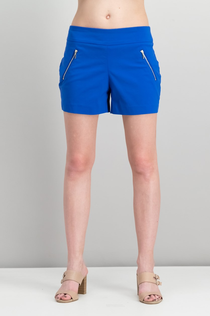 Zipper-Detail Shorts, Lazulite