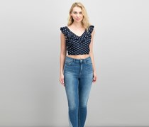 Lucy Paris Ruffled Polka Dot Cropped Top, Navy/White