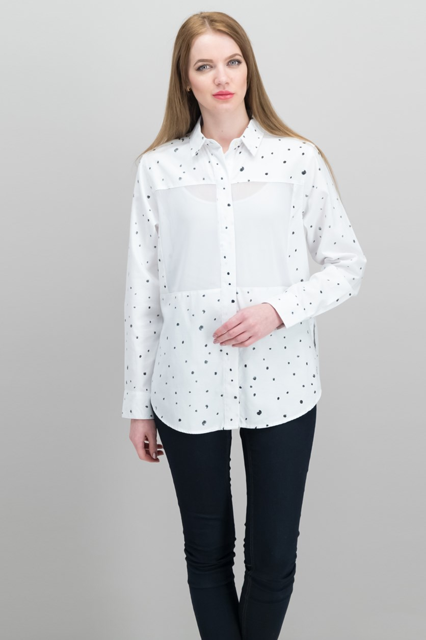 Juniors' Wilson Mesh Dot Button-Up Shirt, White