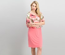 Connected Apparel Women's Floral-Print Capelet Dress, Coral Combo