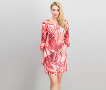 Connected Apparel Palm-Print Bell-Sleeve Dress, Red/White
