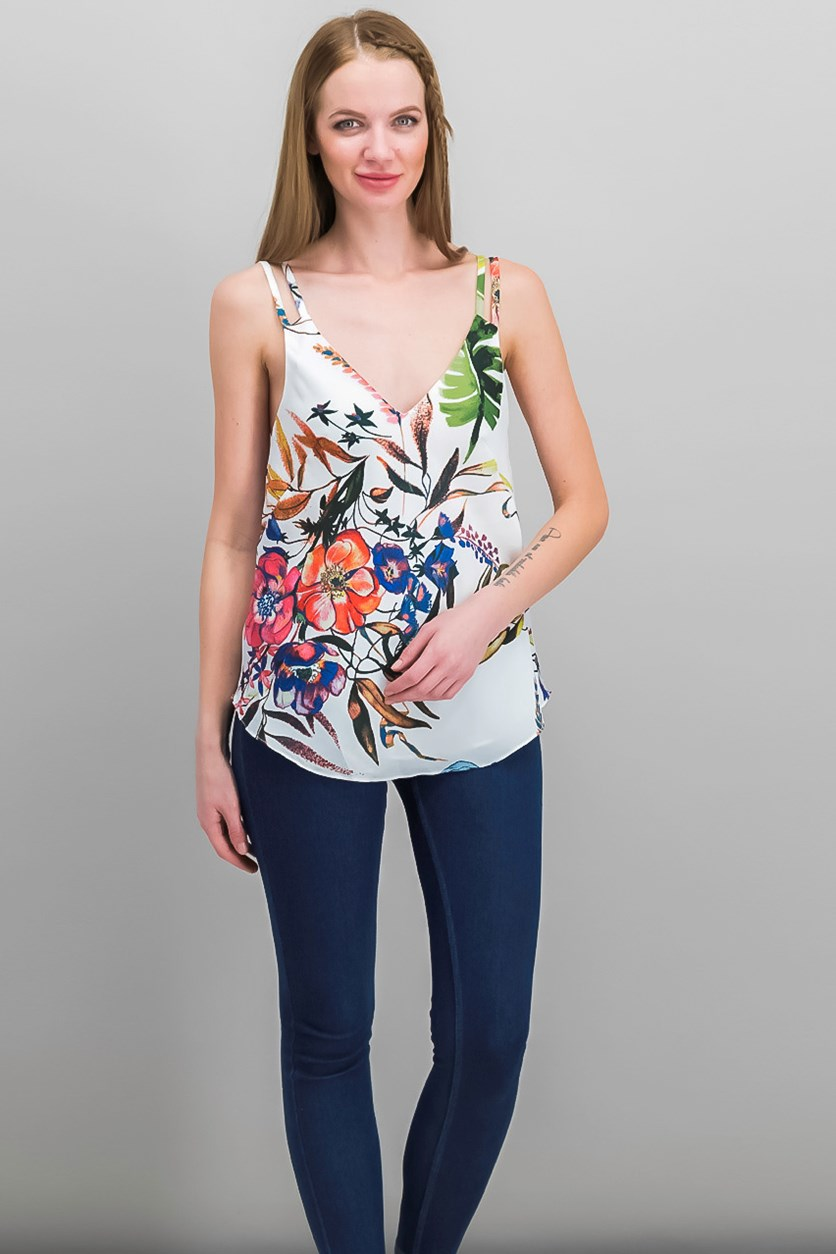 Floral Print Layered Tank Top, White Combo