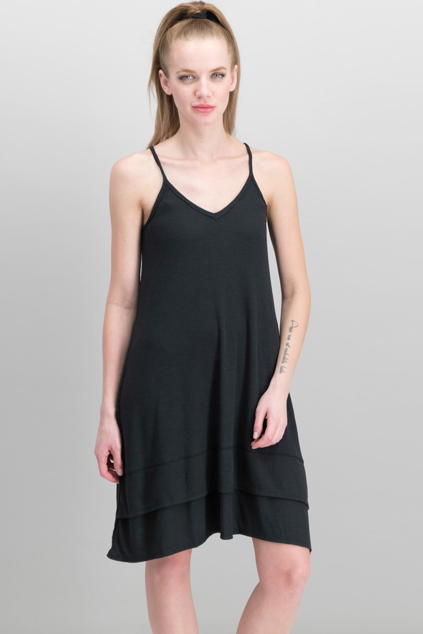 Women's Ribbed-Knit Tank Dress, Black