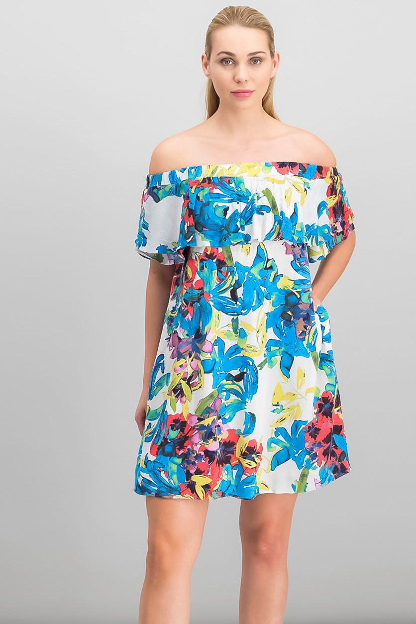Women's  Printed Off-The-Shoulder Floral Dress, Cream Combo