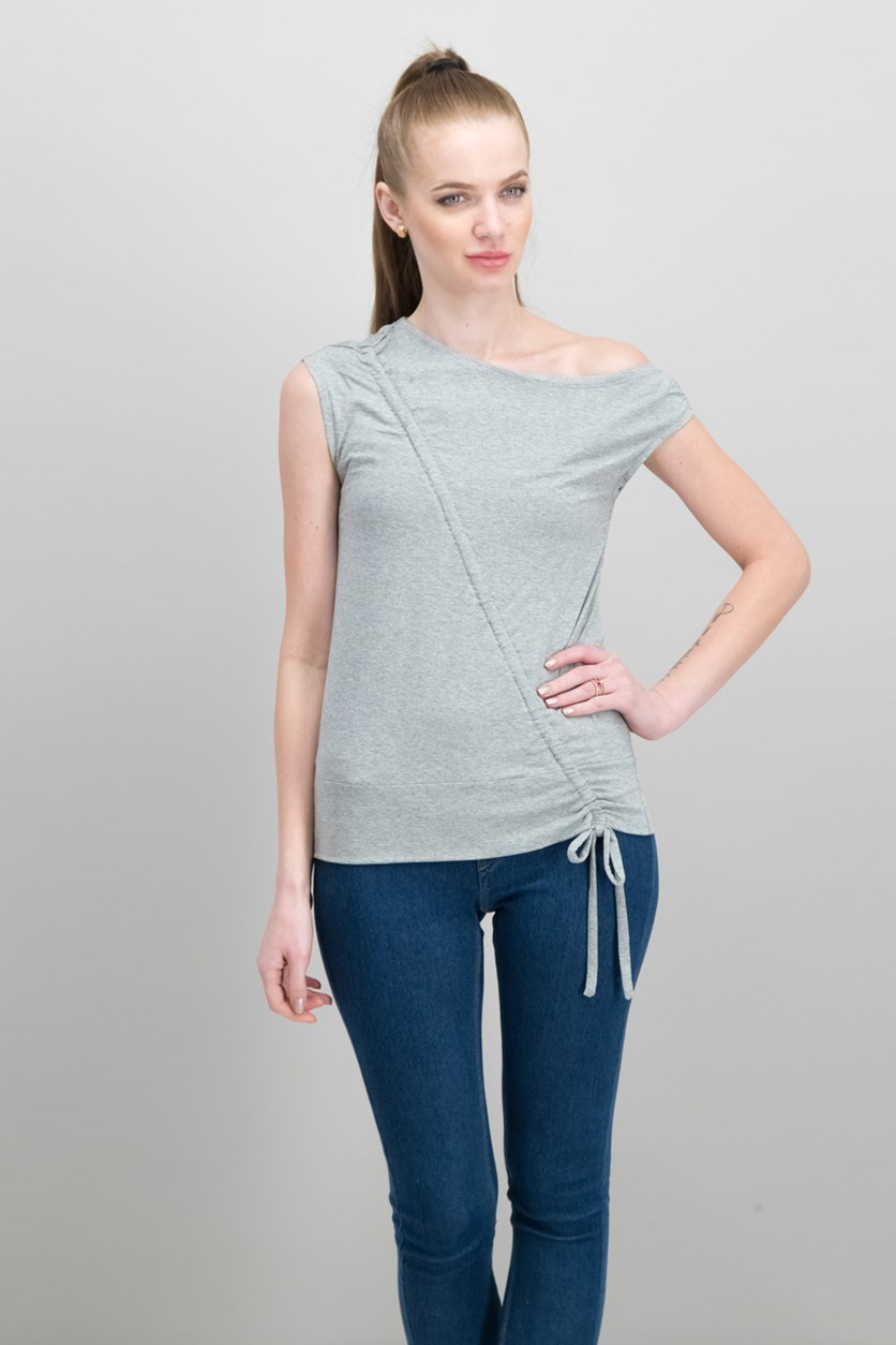 Draw-Tie Top, Heather Grey